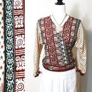 CAT Boho Silk Kimono RED GREEN  Wrap & Tie Tops